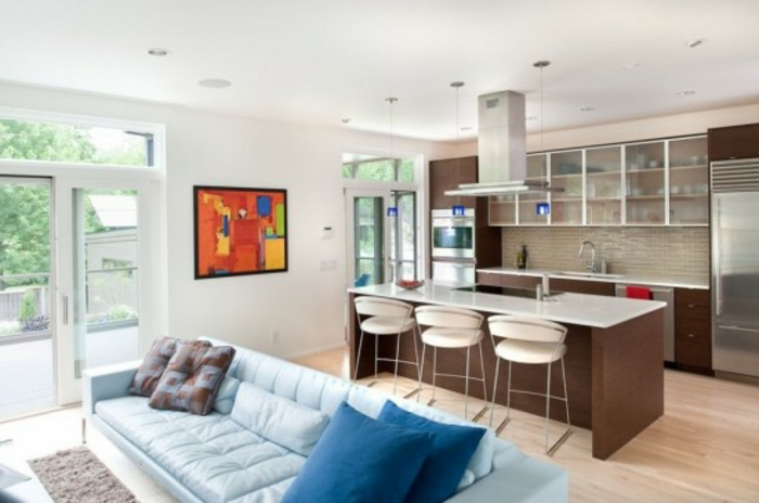 Wohnzimmer mit Kche 34 moderne Designs  Archzinenet