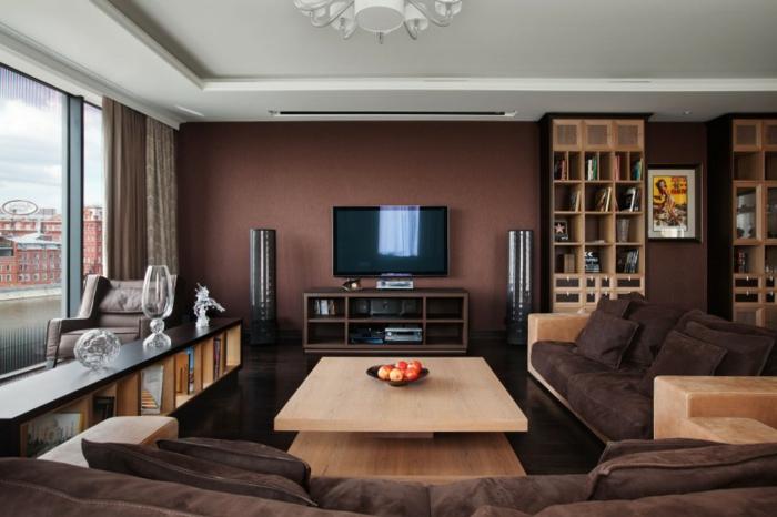 Braunes Wohnzimmer 35 super Ideen  Archzinenet