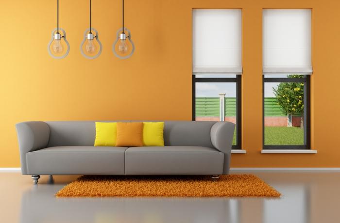wohnzimmer grau orange » terrassenholz.club - Wohnzimmer Grau Orange