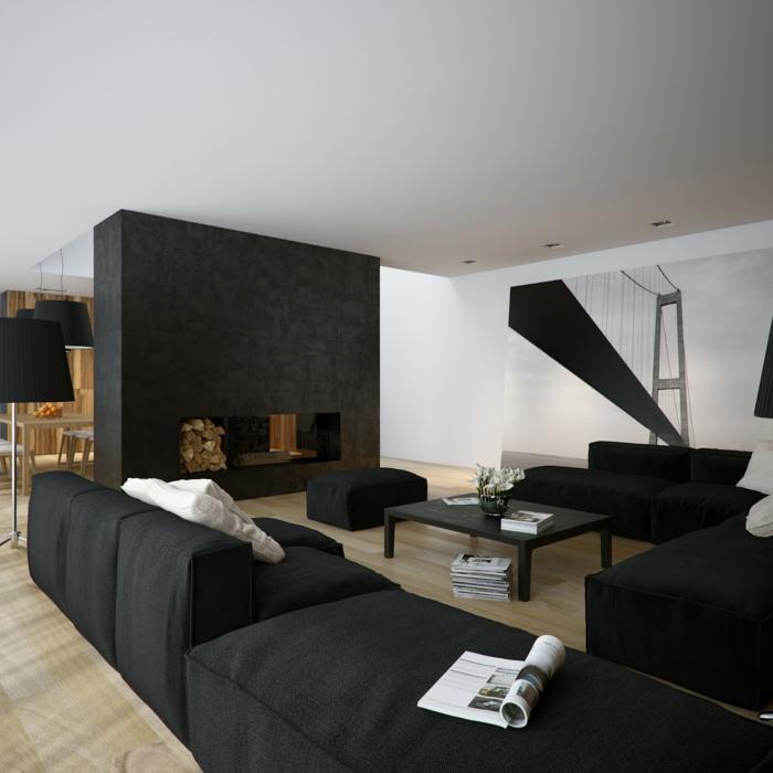 Wohnzimmer in Schwarz 25 Interieurs  Archzinenet