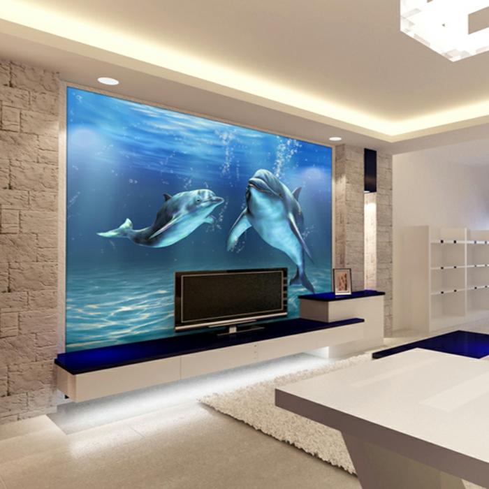 Unterwasserwelt Wandgestaltung im Wohnzimmer  Archzinenet