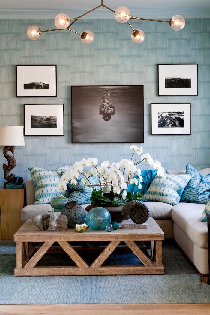 Wohnzimmer Design Leuchten - Boisholz Vintage Wohnzimmer Blau