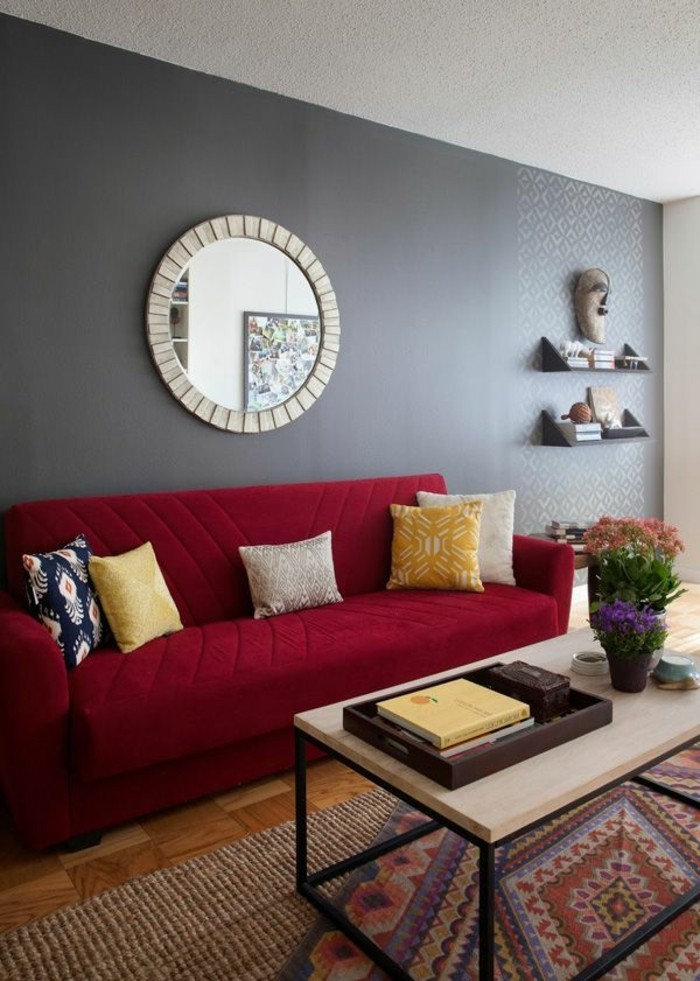 living room color with red sofa high quality low cost rotes - 80 fantastische modelle archzine.net