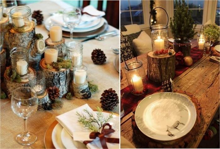 Tischdeko mit Holz  gemtliche Atmosphre zum Feiern
