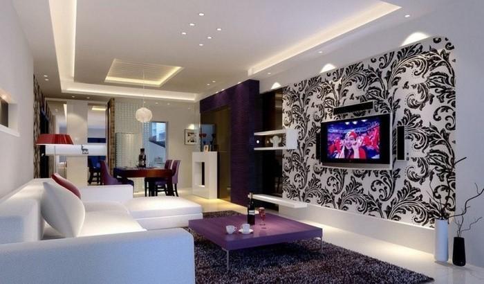 Wohnideen Wohnzimmer Lila Farbe | Möbelideen