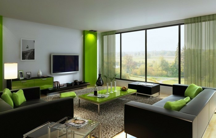 lime green and brown living room designs center table decoration ideas wohnzimmer gardinen ideen für ihre wohnung - archzine.net