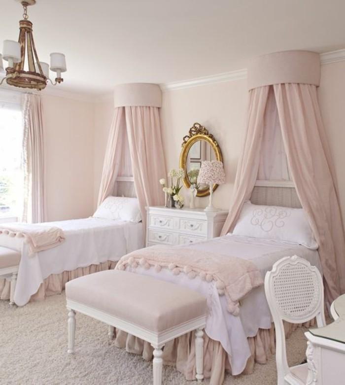 Kinderzimmer Mobel Sitzbank Pink Zwei Betten Ovaler Spiegel