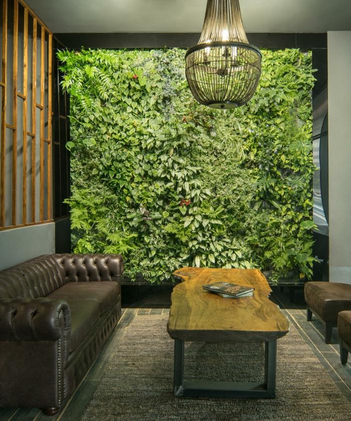 Grune Wand Pflanzen Wohnzimmer