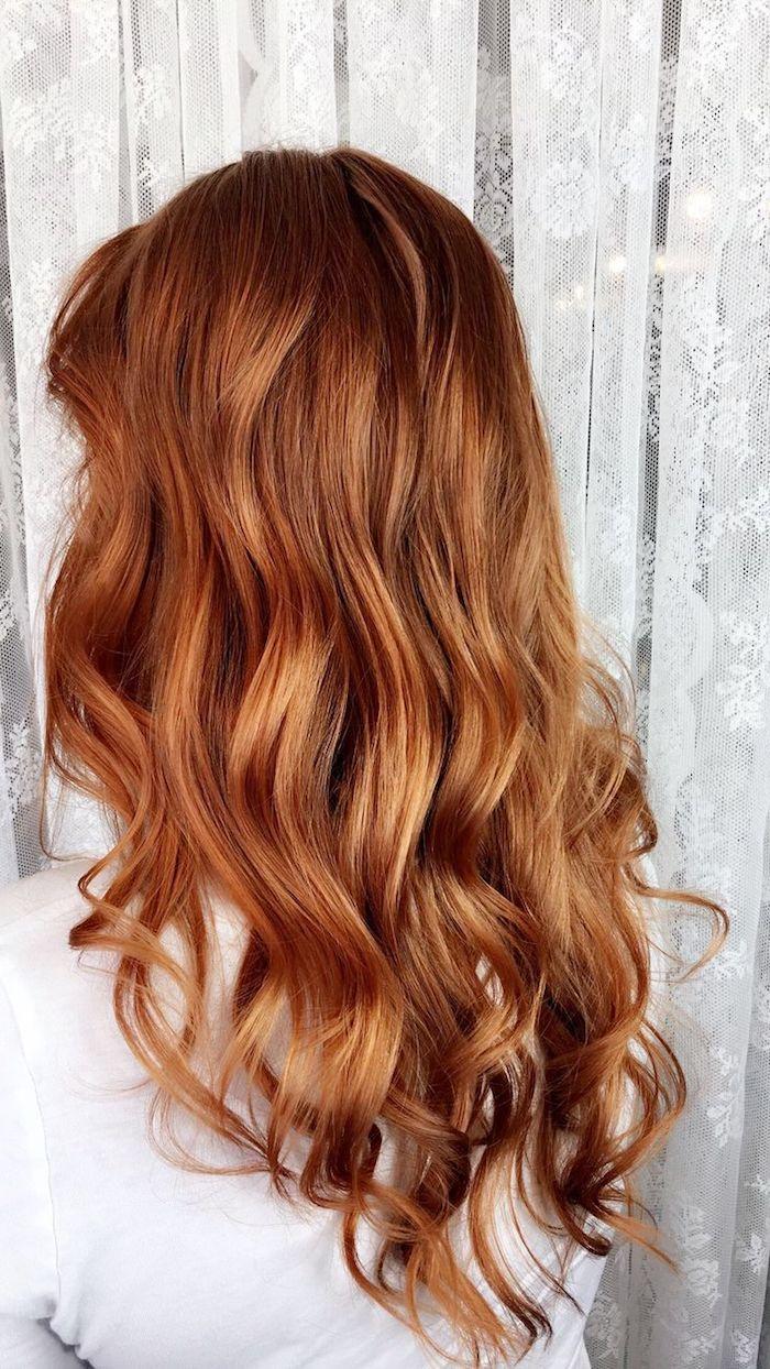 Haarfarbe Kupfer Mit Blonden Strähnen Caramel Haarfarbe Karamell