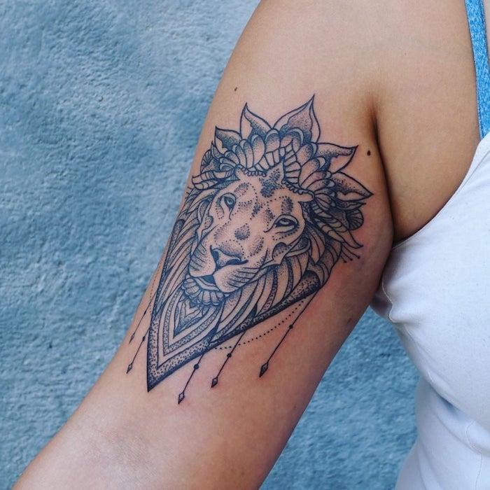 Tattoo Lwenkopf Am Unterarm Wasserfarben Tattoo Mit Lwenmotiv
