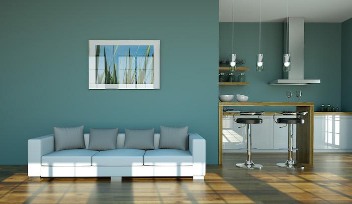 Wohnzimmer Ideen Grau Türkis