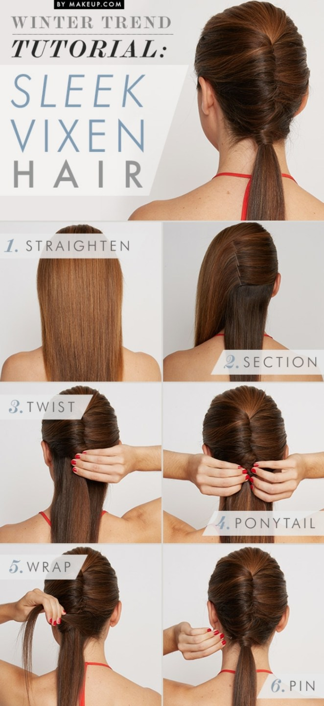 a smart hairstyle in a few steps, beautiful hairstyle for long hair in six steps