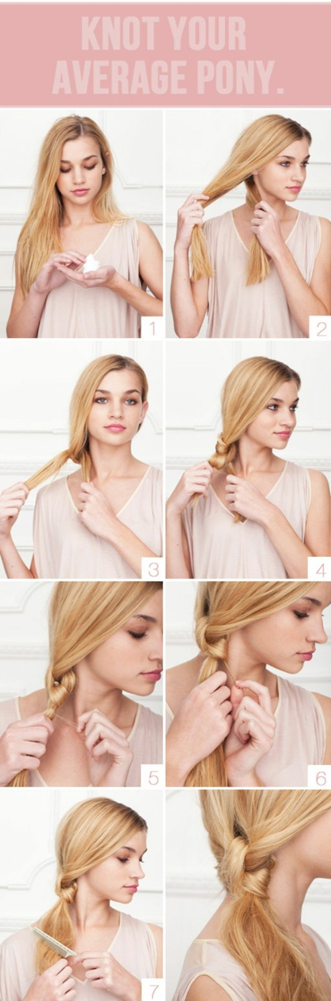 beautiful hairstyles for long hair, a knot in eight steps, styling blonde hair