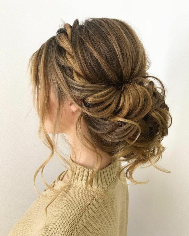 brown sweater, simple updos for long hair, a braid like crown