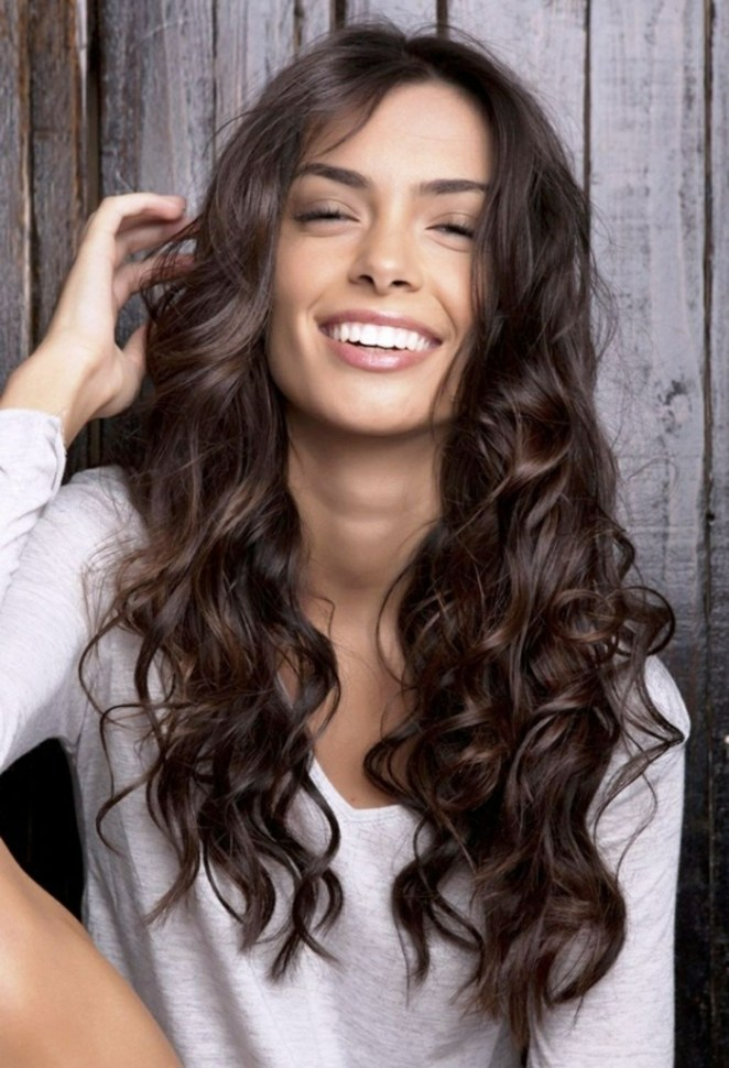 long hair in black color, white blouse, casual curls, do hairstyles for long hair yourself