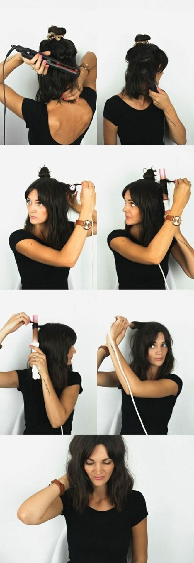 Long hairstyles, black hair, a curling iron to volume, black hair, black dress
