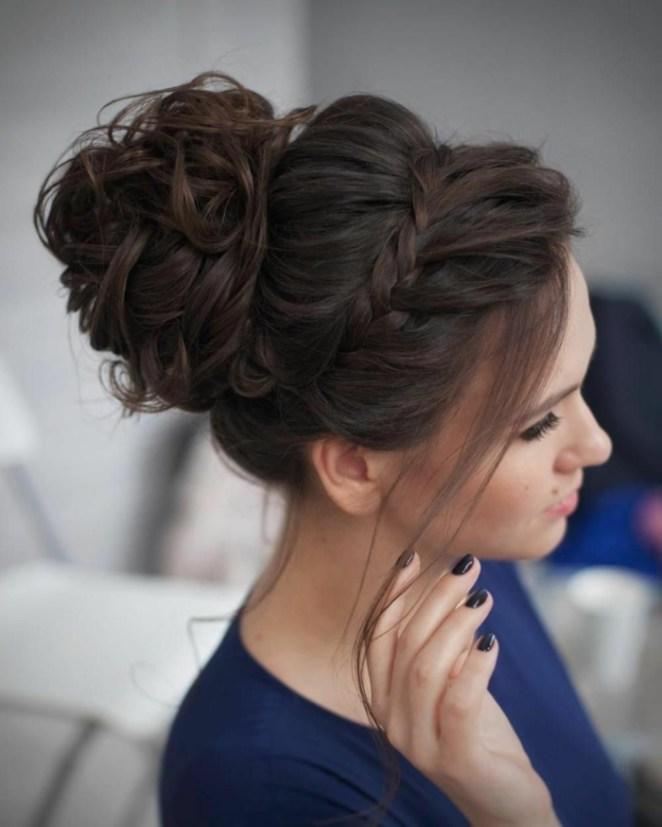 Updos for long hair, blue blouse, dark brown hair, braid like crown