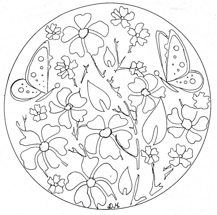 Malvorlagen Blumen Und Schmetterling - Zeichnen und Färben
