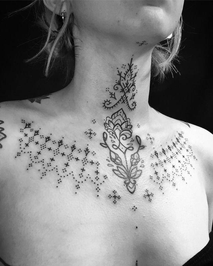 Girly Chest Tattoo : girly, chest, tattoo, Ideas, Beautiful, Chest, Tattoos, Women