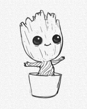 easy drawings groot pencil sketch background pot drawing sketches disney galaxy draw marvel cool characters cartoon character guardians 1001 things