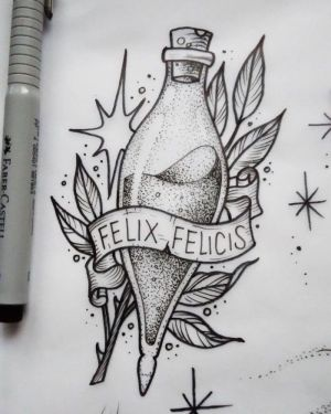 potter harry tattoo felix felicis drawings tattoos flash hogwarts drawing easy potion sketch bottle sketches potions draw designs background hp
