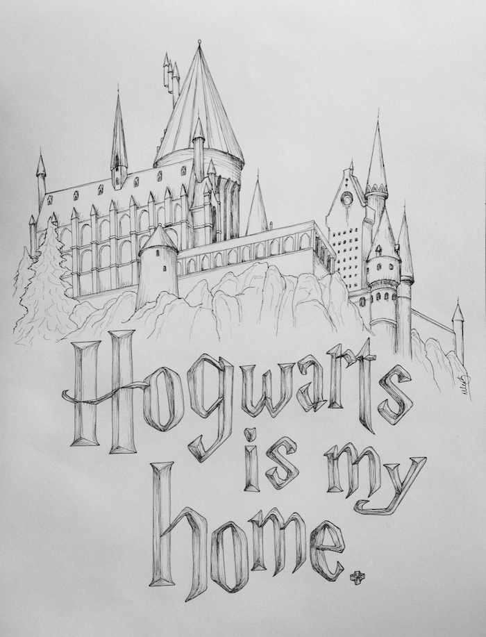 How To Draw Hogwarts Castle : hogwarts, castle, 1001+, Ideas, Harry, Potter, Drawings, Die-Hard