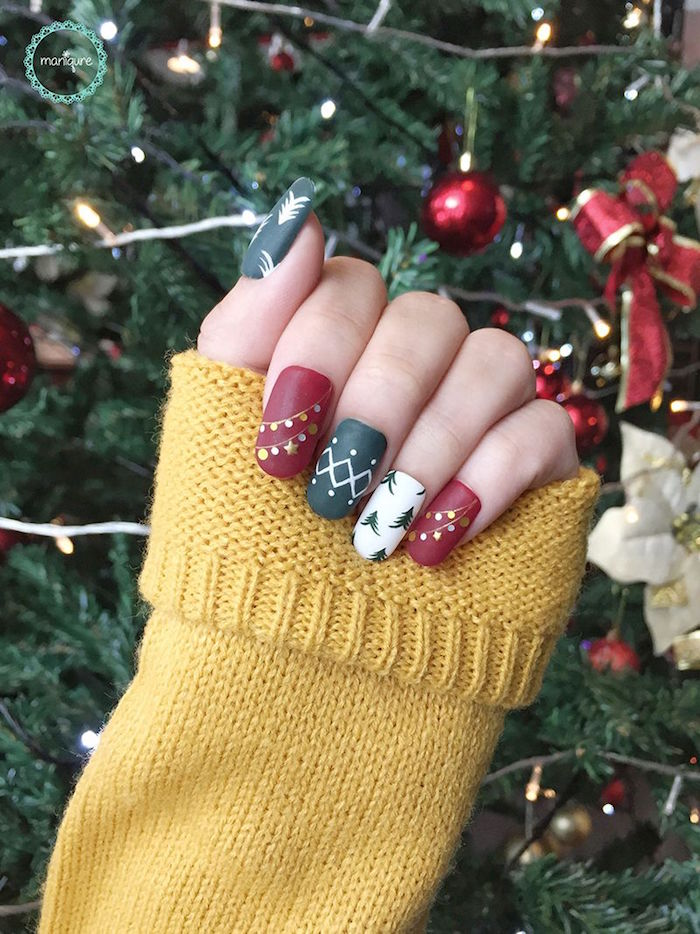 Red And Green Christmas Nails : green, christmas, nails, 1001+, Ideas, Christmas, Designs