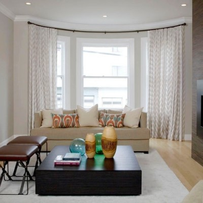 Window Treatment Ideas For Bay Windows. Mid Sized Transitional Living Room  ... Part 33