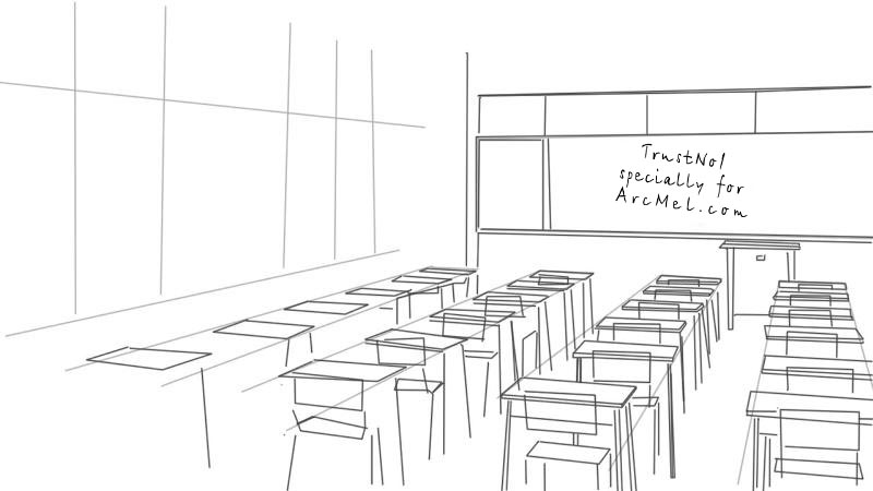 One Point Perspective Interior Drawing Sketch Coloring Page