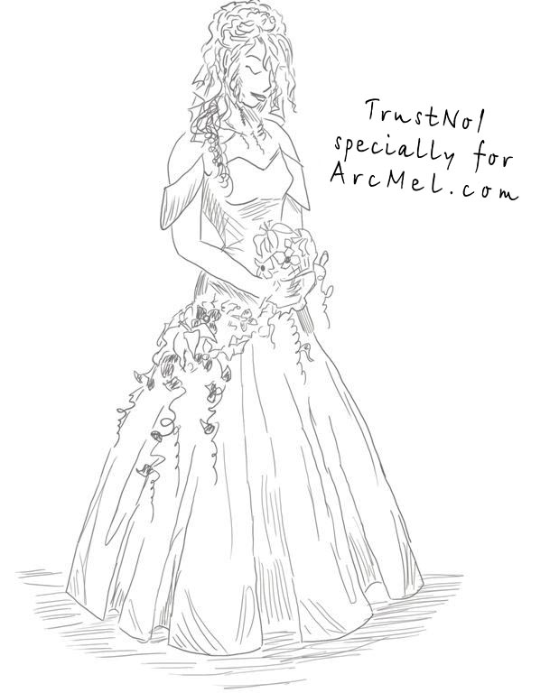 How To Draw A Girl In A Wedding Dress Step By Step