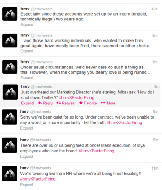 HMV sacking via Twitter