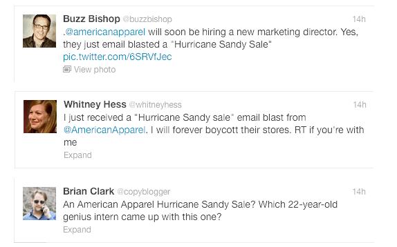 american apparel sandy tweet