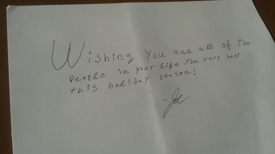 Joe's Personal note for the holidays