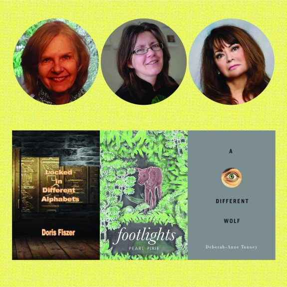 Faces of Doris Fiszer, Pearl Pirie, and Deborah-Anne Tunney above images of their book covers