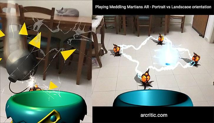 Playing Meddling Martians AR on the iPad: Portrait vs Landscape orientation