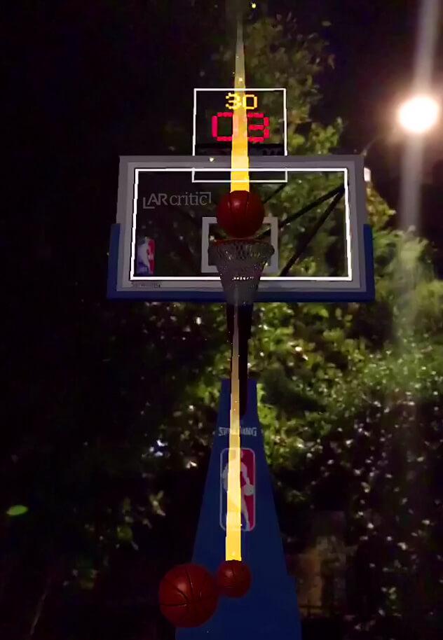Playing NBA AR app at night outdoors