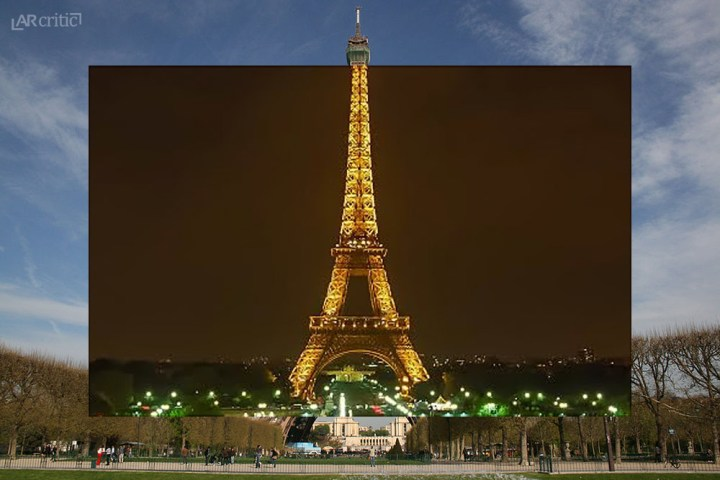 Eiffel Tower Paris in daylight with overlay night image