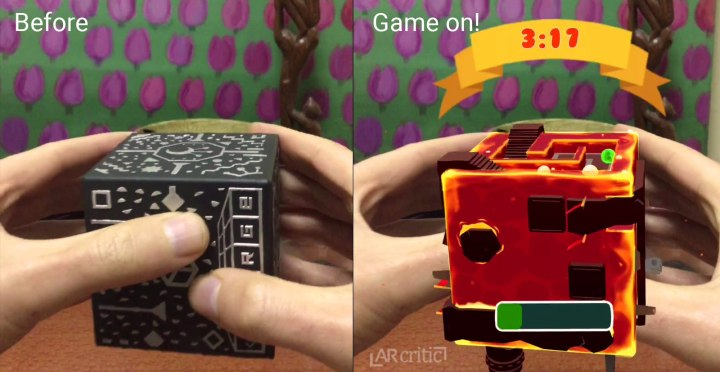 Before and after launching Tiltball on the Merge Cube