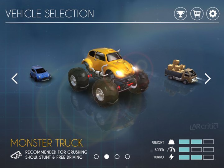 RC Club car selection screen