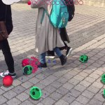 Girl walking and smashing an egg in augmented reality