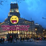 Barcelona street with AR text
