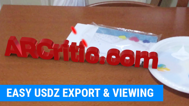 USDZ file export and viewing