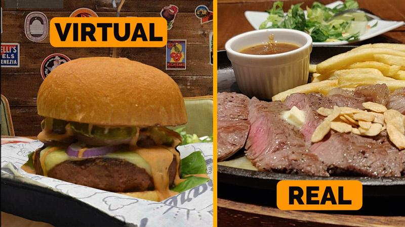 Virtual 3D food vs real food