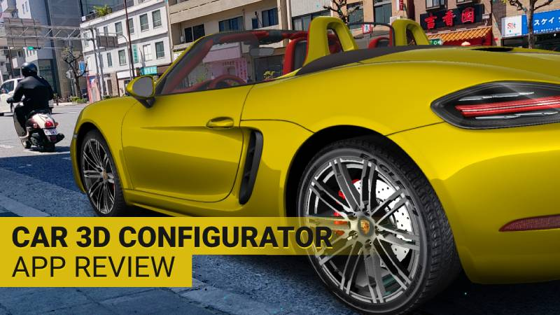Yellow Porsche 718 Boxter car in augmented reality