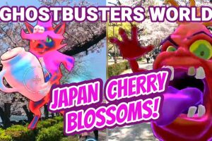 Ghostbusters World Gameplay in Japan with Beautiful Cherry Blossoms
