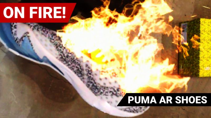 Puma AR shoes on fire
