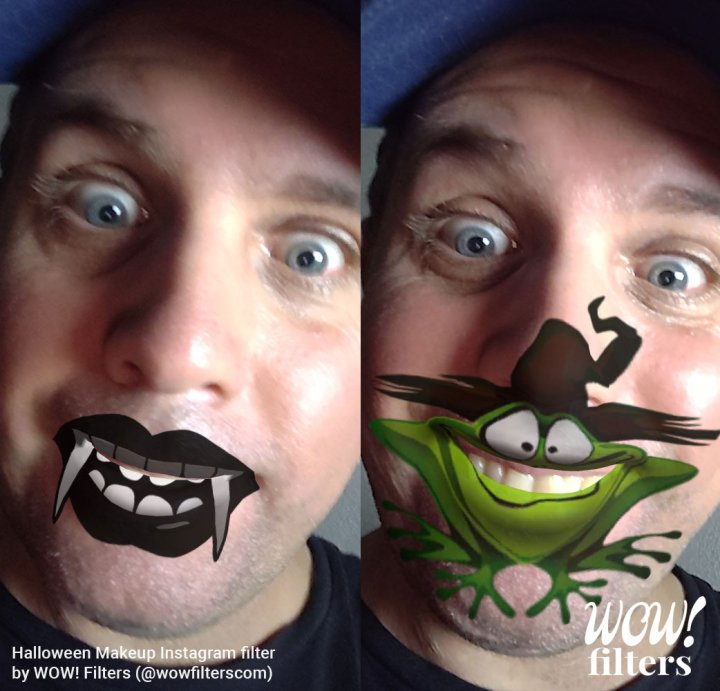 Halloween drawings on your face, Instagram filters