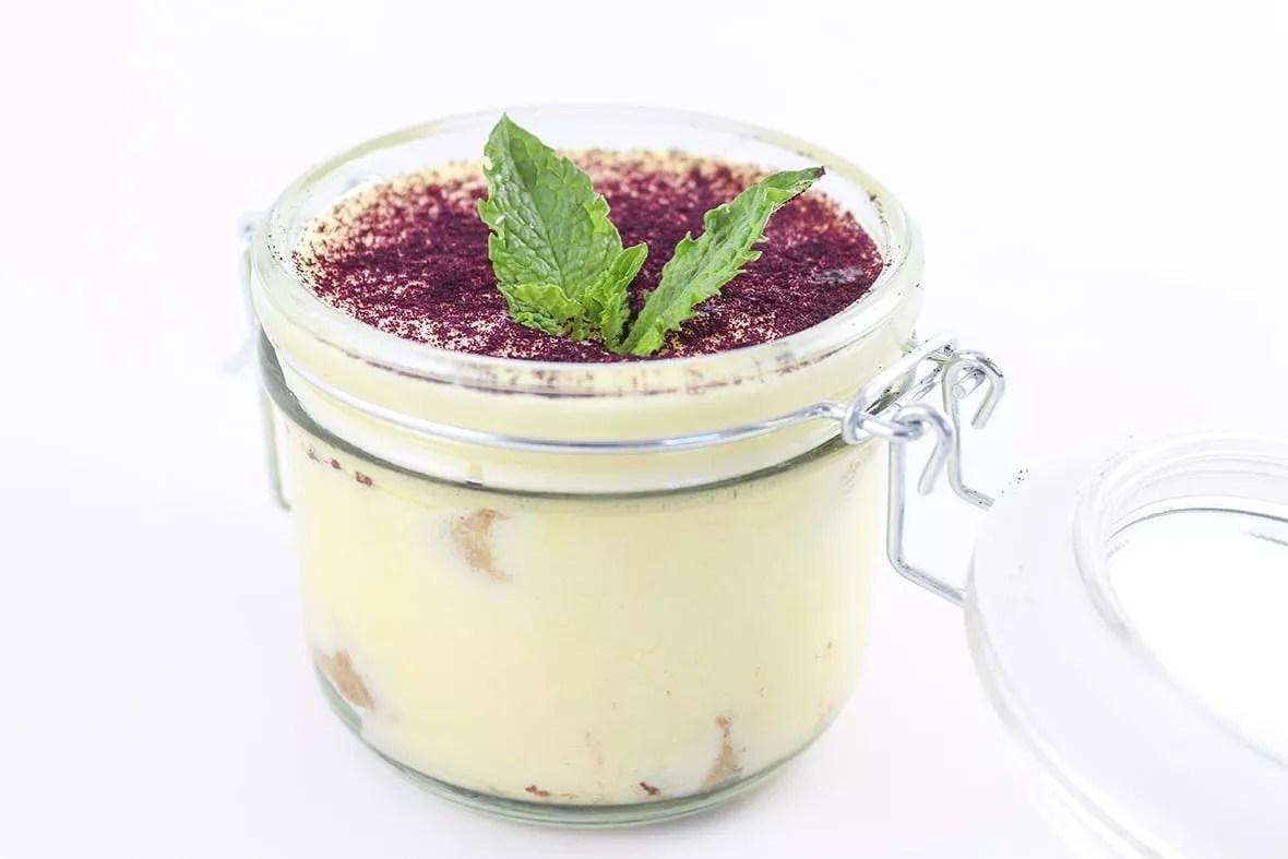 Blueberry tiramisu made with Arctic Flavors wild blueberry powder