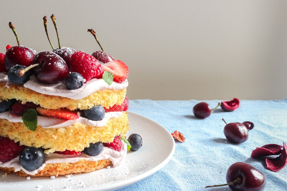 Classic dairy-free sponge cake with easy and delicious filling made of coconut milk and Arctic Flavors 100% natural wild lingonberry powder. Easy and delicious filling between cake layers. Wild berry powders available in Arctic Flavors online shop.