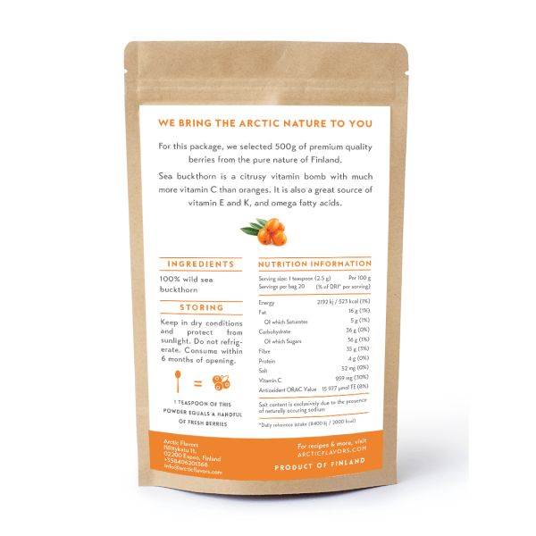 Arctic Flavors premium quality sea buckthorn powder from the pure forests of Finland.
